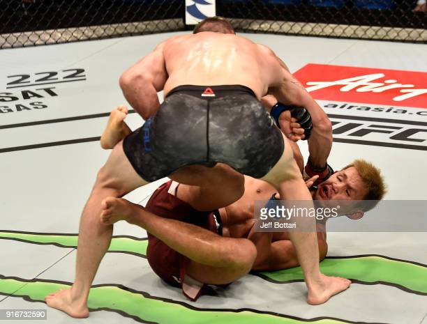 Luke Jumeau of New Zealand punches Daichi Abe of Japan in their welterweight bout during the UFC 221 event at Perth Arena on February 11 2018 in...