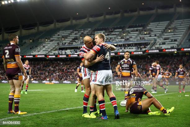 Luke Keary of the Roosters celebrates scoring a try during the NRL Qualifying Final match between the Sydney Roosters and the Brisbane Broncos at...