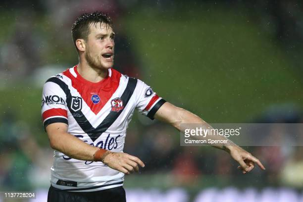 Luke Keary of the Roosters directs team mates during the round two NRL match between the Manly Sea Eagles and the Sydney Roosters at Lottoland on...