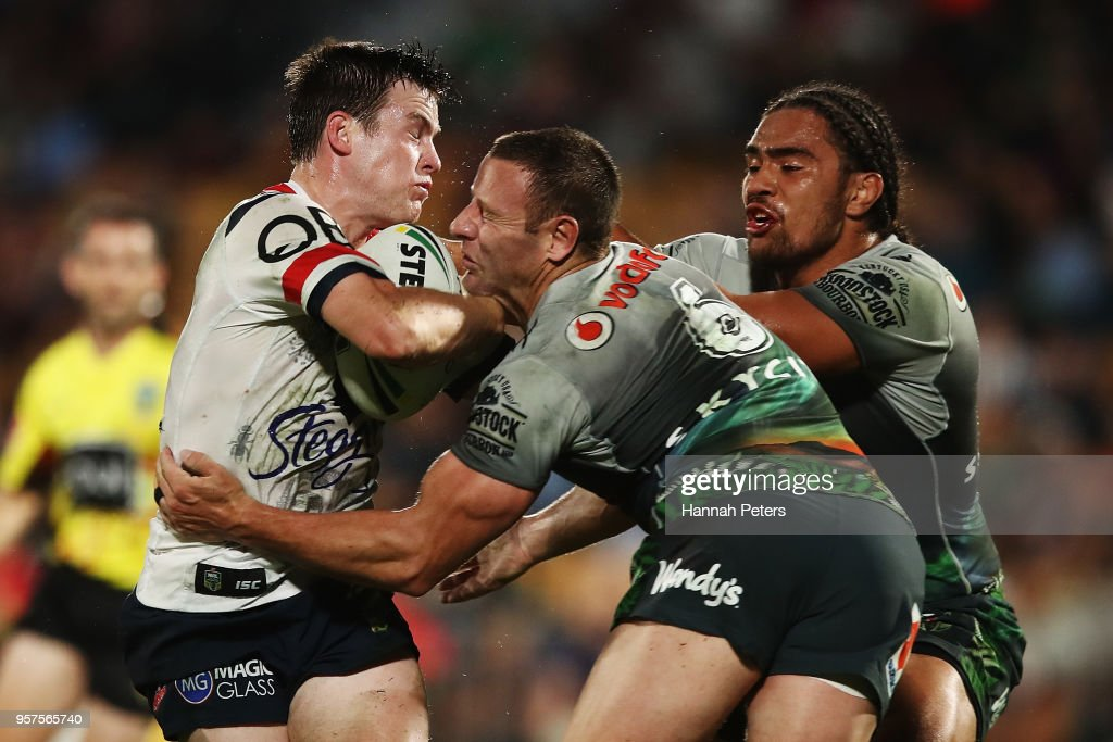 Luke Keary of the Roosters is tackled by Blake Green of the Warriors during the round 10 NRL match between the New Zealand Warriors and the Sydney Roosters at Mt Smart Stadium on May 12, 2018 in Auckland, New Zealand.