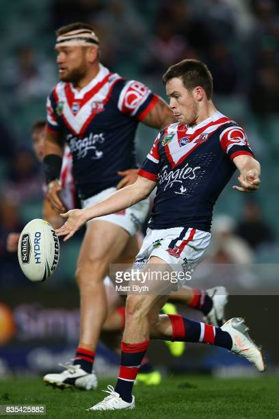 Luke Keary of the Roosters kicks during the round 24 NRL match between the Sydney Roosters and the Wests Tigers at Allianz Stadium on August 19 2017...