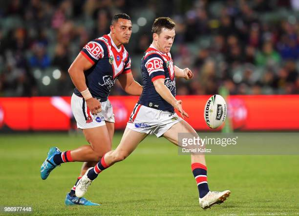 Luke Keary of the Roosters kicks the ball during the round 16 NRL match between the Sydney Roosters and the Melbourne Storm at Adelaide Oval on June...