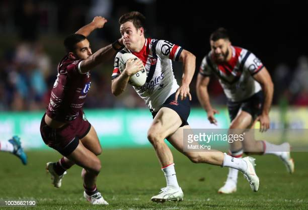 Luke Keary of the Roosters makes a break during the round 19 NRL match between the Manly Sea Eagles and the Sydney Roosters at Lottoland on July 22...