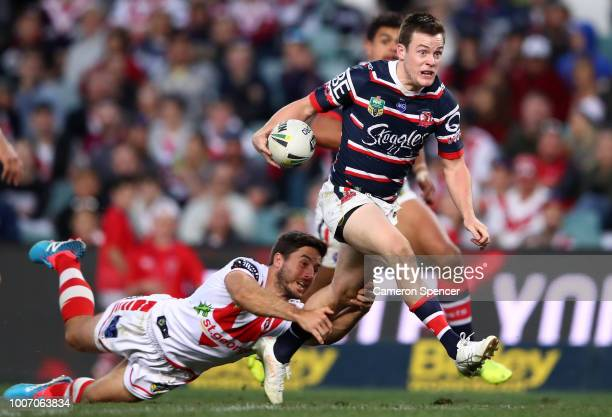 Luke Keary of the Roosters makes a break during the round 20 NRL match between the Sydney Roosters and the St George Illawarra Dragons at Allianz...