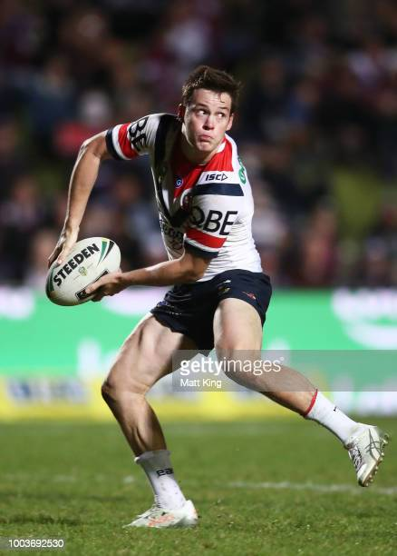 Luke Keary of the Roosters passes during the round 19 NRL match between the Manly Sea Eagles and the Sydney Roosters at Lottoland on July 22 2018 in...
