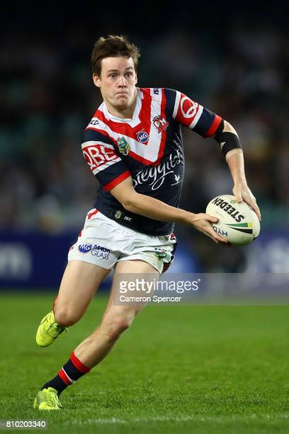 Luke Keary of the Roosters passes the ball during the round 18 NRL match between the Sydney Roosters and the South Sydney Rabbitohs at Allianz...
