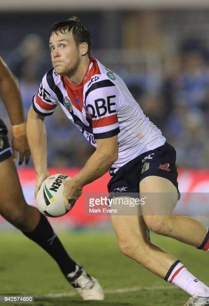 Luke Keary of the Roosters passes the ball during the round five NRL match between the Cronulla Sharks and the Sydney Roosters at Southern Cross...