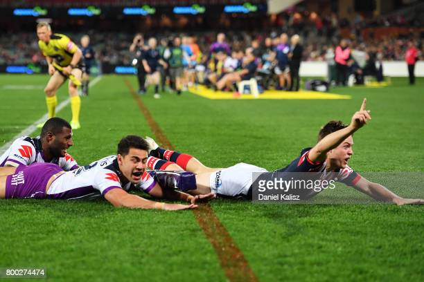 Luke Keary of the Roosters reacts during the round 16 NRL match between the Sydney Roosters and the Melbourne Storm at Adelaide Oval on June 24 2017...
