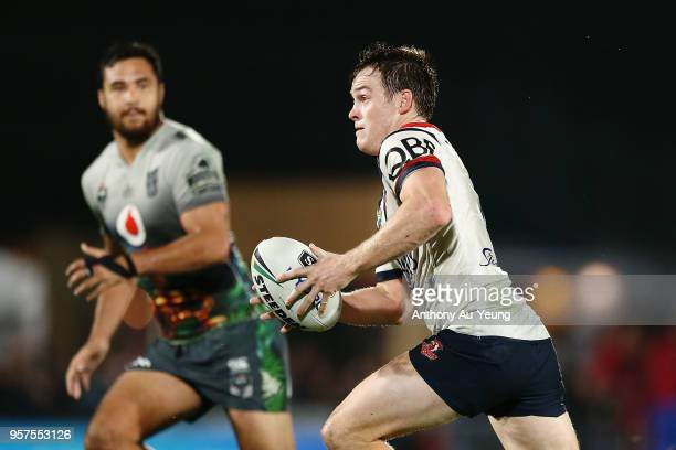 Luke Keary of the Roosters runs the ball during the round 10 NRL match between the New Zealand Warriors and the Sydney Roosters at Mt Smart Stadium...