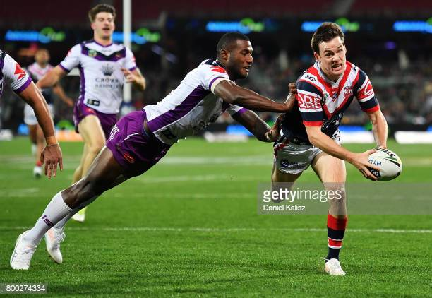 Luke Keary of the Roosters runs with the ball during the round 16 NRL match between the Sydney Roosters and the Melbourne Storm at Adelaide Oval on...