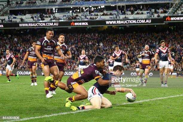 Luke Keary of the Roosters scores a try during the NRL Qualifying Final match between the Sydney Roosters and the Brisbane Broncos at Allianz Stadium...