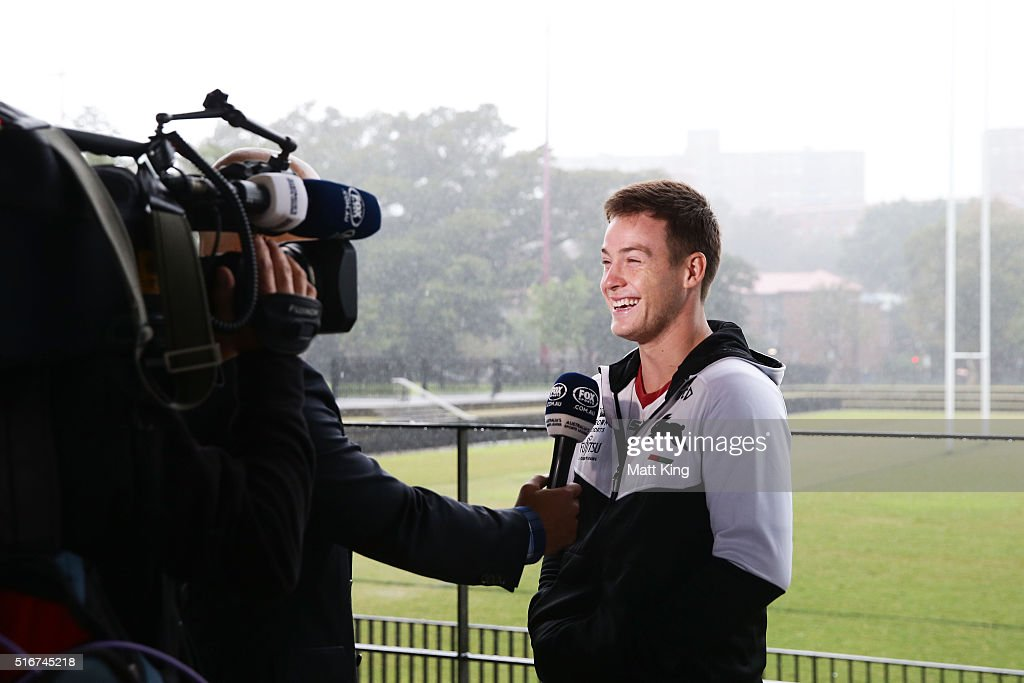 Luke Keary speaks to the media during a South Sydney Rabbitohs NRL media session at Redfern Oval on March 21, 2016 in Sydney, Australia.