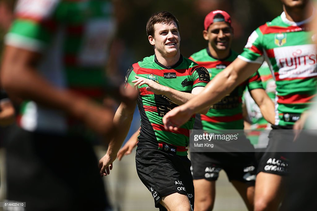Luke Keary warms up during a South Sydney Rabbitohs NRL training session at Redfern Oval on March 9, 2016 in Sydney, Australia.