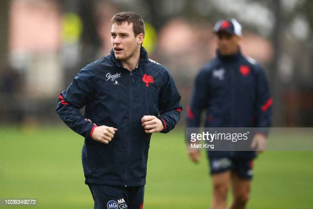 Luke Keary warms up during a Sydney Roosters NRL training session at Kippax Lake Oval on September 3 2018 in Sydney Australia