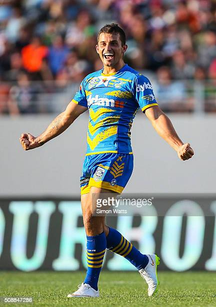 Luke Kelly of the Eels celebrates after winning the 2016 Auckland Nines Grand Final match between the Warriors and the Eels at Eden Park on February...