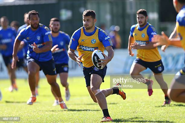 Luke Kelly runs the ball during a Parramatta Eels NRL training session at New Era Stadium on April 17 2014 in Sydney Australia