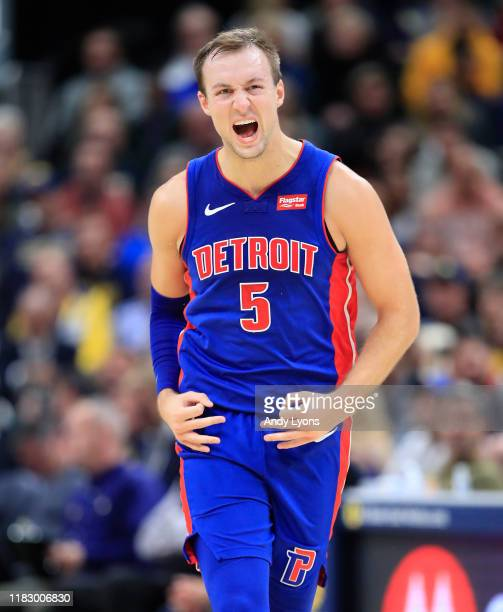 Luke Kennard of the Detroit Pistons celebrates after making a three point shot against the Indiana Pacers at Bankers Life Fieldhouse on October 23,...