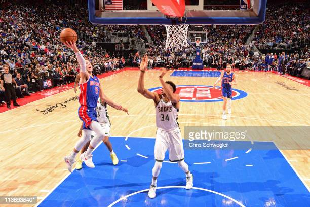 Luke Kennard of the Detroit Pistons goes to the basket against the Milwaukee Bucks during Game Four of Round One of the 2019 NBA Playoffs on April 22...