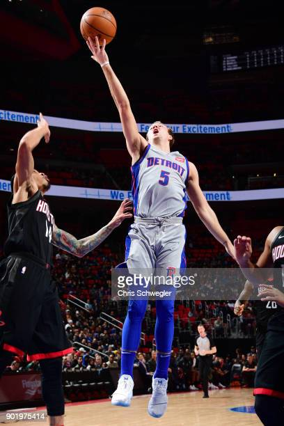 Luke Kennard of the Detroit Pistons goes to the basket against the Houston Rockets on January 6 2018 at Little Caesars Arena in Detroit Michigan NOTE...