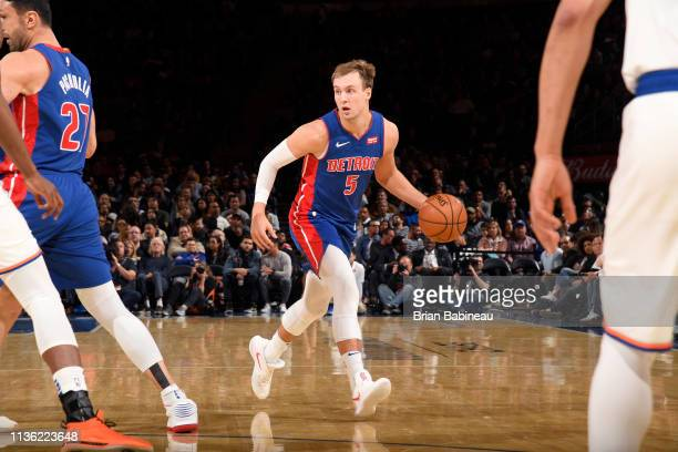 Luke Kennard of the Detroit Pistons handles the ball against the New York Knicks on April 10, 2019 at Madison Square Garden in New York City, New...