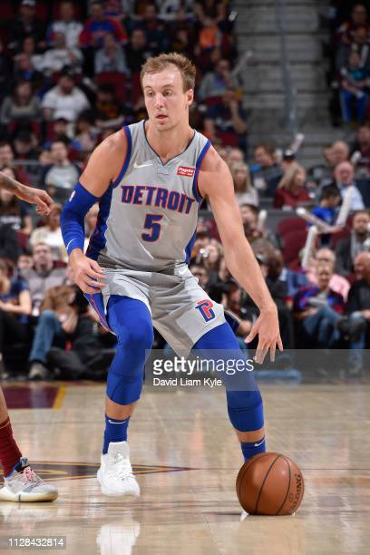 Luke Kennard of the Detroit Pistons handles the ball against the Cleveland Cavaliers on March 2, 2019 at Quicken Loans Arena in Cleveland, Ohio. NOTE...
