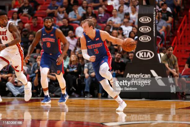 Luke Kennard of the Detroit Pistons handles the ball against the Miami Heat on November 12, 2019 at American Airlines Arena in Miami, Florida. NOTE...