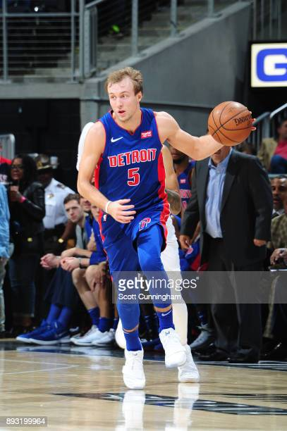 Luke Kennard of the Detroit Pistons handles the ball against the Atlanta Hawks on December 14 2017 at Philips Arena in Atlanta Georgia NOTE TO USER...
