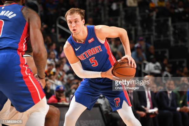 Luke Kennard of the Detroit Pistons handles the ball against the Milwaukee Bucks during Game Four of Round One of the 2019 NBA Playoffs on April 22,...