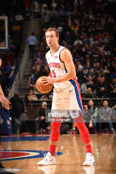 Luke Kennard of the Detroit Pistons handles the ball during a game against the Chicago Bulls on December 21, 2019 at Little Caesars Arena in Detroit,...