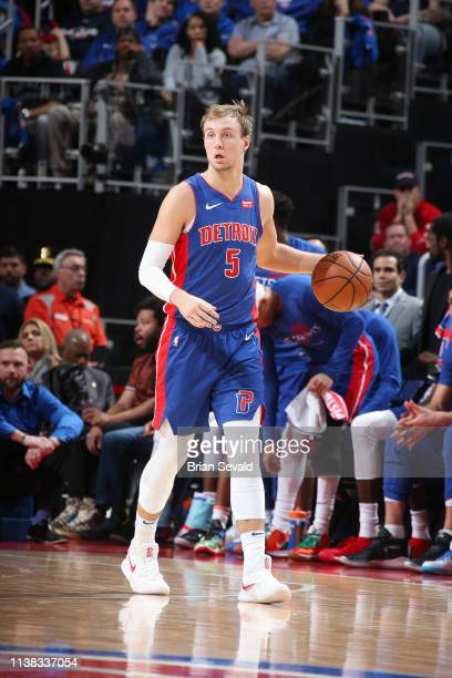 Luke Kennard of the Detroit Pistons handles the ball during the game against the Milwaukee Bucks during Game Three of Round One of the 2019 NBA...