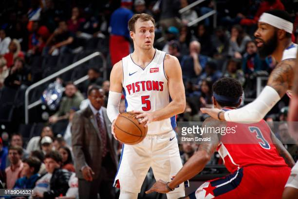 Luke Kennard of the Detroit Pistons handles the ball during the game against the Washington Wizards on December 16, 2019 at Little Caesars Arena in...