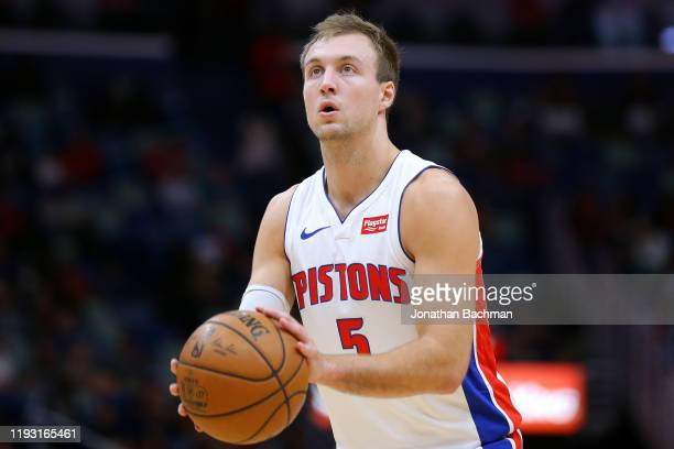 Luke Kennard of the Detroit Pistons in action against the New Orleans Pelicans during the second half at the Smoothie King Center on December 09,...
