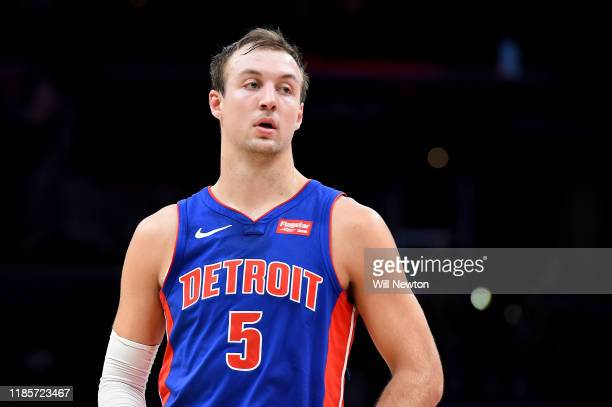 Luke Kennard of the Detroit Pistons looks on against the Washington Wizards during the first half at Capital One Arena on November 4, 2019 in...