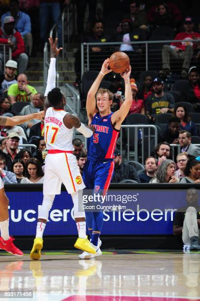 Luke Kennard of the Detroit Pistons looks to pass against the Atlanta Hawks on December 14 2017 at Philips Arena in Atlanta Georgia NOTE TO USER User...