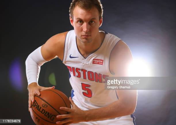 Luke Kennard of the Detroit Pistons poses for a portrait during the Detroit Pistons Media Day at Pistons Practice Facility on September 30, 2019 in...