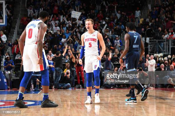 Luke Kennard of the Detroit Pistons reacts against the Memphis Grizzlies on April 9, 2019 at Little Caesars Arena in Detroit, Michigan. NOTE TO USER:...