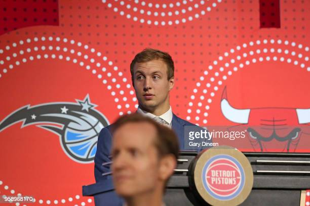 Luke Kennard of the Detroit Pistons represents the Detroit Pistons during the NBA Draft Lottery on May 15 2018 at The Palmer House Hilton in Chicago...