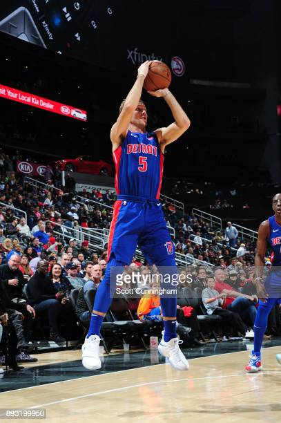 Luke Kennard of the Detroit Pistons shoots the ball against the Atlanta Hawks on December 14 2017 at Philips Arena in Atlanta Georgia NOTE TO USER...