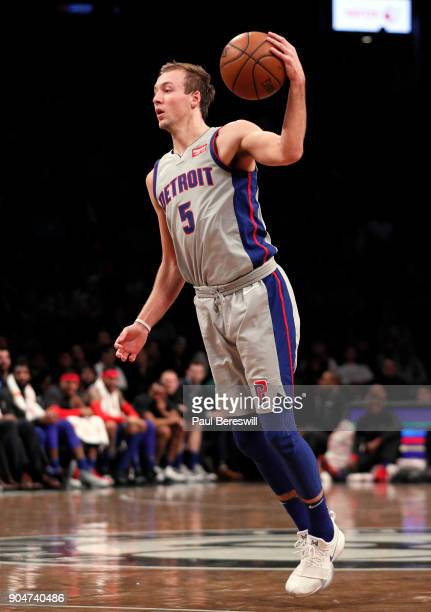 Luke Kennard of the Detroit Pistons starts his move to the basket in an NBA basketball game against the Brooklyn Nets on January 10 2018 at Barclays...
