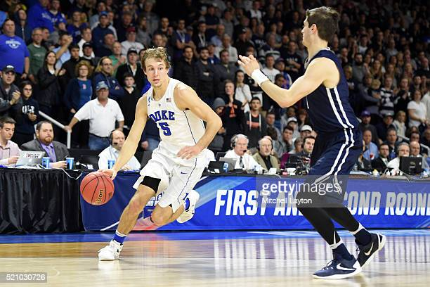 Luke Kennard of the Duke Blue Devils dribbles the ball during a first round NCAA College Basketball Tournament game against the Yale Bulldogs at...