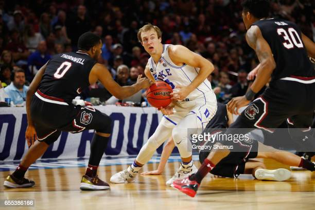 Luke Kennard of the Duke Blue Devils handles the ball in the second half against the South Carolina Gamecocks during the second round of the 2017...