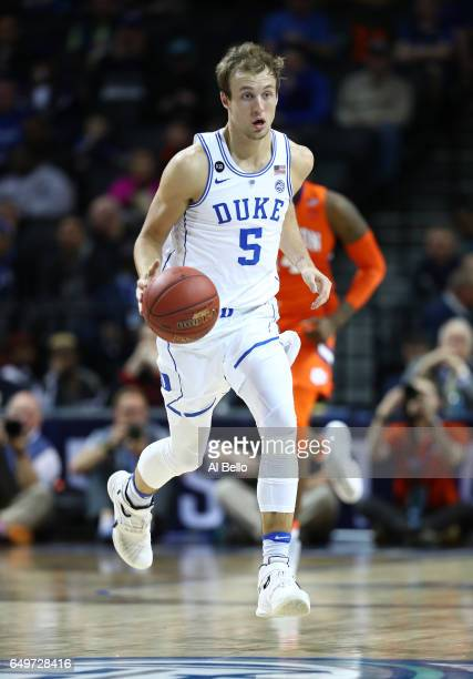 Luke Kennard of the Duke Blue Devils in action against the Clemson Tigers during the second round of the ACC Basketball Tournament at the Barclays...