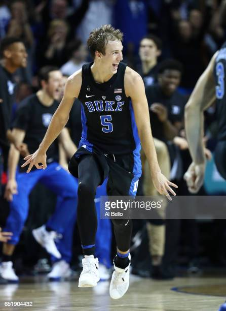 Luke Kennard of the Duke Blue Devils reacts after hitting a three point shot against the North Carolina Tar Heels during the Semi Finals of the ACC...