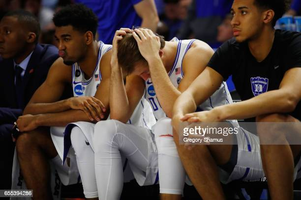 Luke Kennard of the Duke Blue Devils reacts on the bench in the second half against the South Carolina Gamecocks during the second round of the 2017...