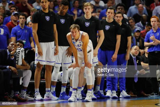 Luke Kennard of the Duke Blue Devils reacts on the sideline in the second half against the South Carolina Gamecocks during the second round of the...