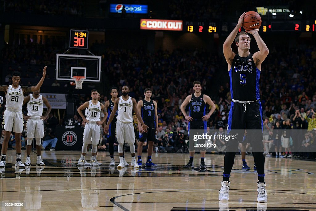 Luke Kennard #5 of the Duke Blue Devils shoots a technical free-throw against the Wake Forest Demon Deacons at LJVM Coliseum Complex on January 28, 2017 in Winston-Salem, North Carolina.