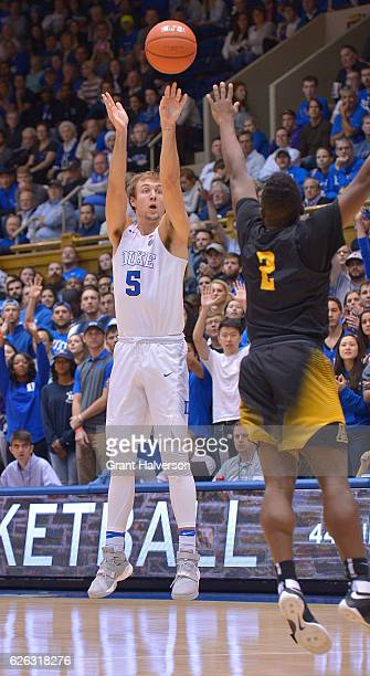Luke Kennard of the Duke Blue Devils shoots against the Appalachian State Mountaineers during the game at Cameron Indoor Stadium on November 26 2016...