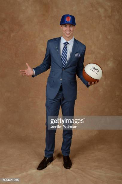 Luke Kennard poses for a portrait after being drafted number twelve overall to the Detroit Pistons during the 2017 NBA Draft on June 22 2017 at...