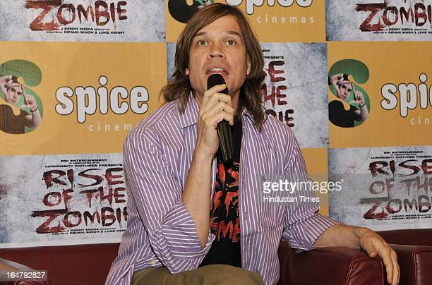 Luke Kenny speaks during a press conference about their upcoming film Rise of the Zombies at Spice World Mall in Sector 25A on March 28 2013 in Noida...