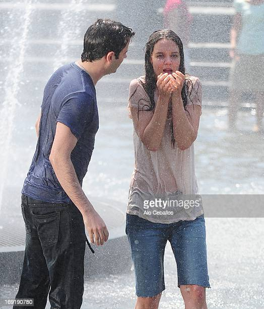 Luke Kirby and Katie Holmes are seen on the set of 'Mania Days' in Washington Square Park on May 21 2013 in New York City